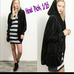 Jackets & Blazers - Plush Sherpa Snuggly Hoodie Open Front Jacket